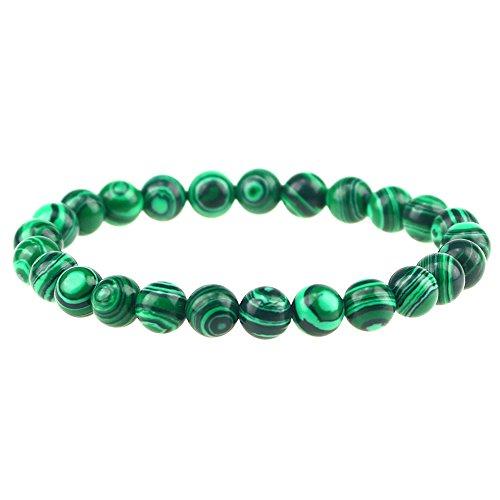 Clearain Beautiful Energy Power Crystal 8mm Chakra Beads Reiki Healing Elastic Stretch Bracelet Man Made Malachite
