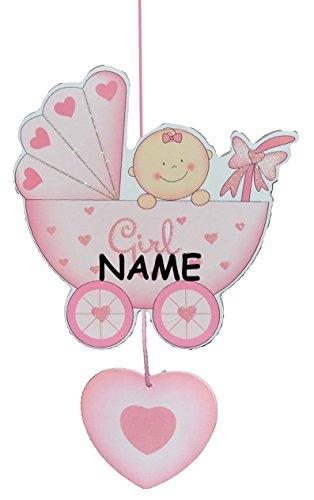 Türschild / Wandbild / Deko Hänger aus Holz - Baby im Kinderwagen rosa incl. Name - selbstklebend - Kinderzimmer Deko Bilder Mädchen zur Geburt Babys Neugeboren