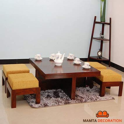 Wooden Coffee Table.Mamta Decoration Wooden Coffee Table With 4 Stools For Living Room Walnut Finish Yellow Cushion