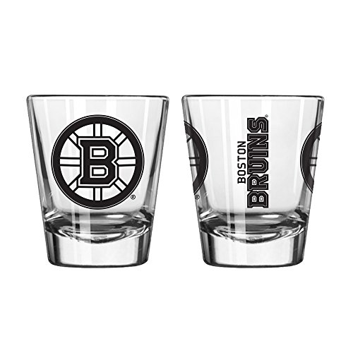 Official Fan Shop Authentic NHL Logo 2 oz Shot Glasses 2-Pack Bundle. Show Team Pride at home or your Bar. Game time glasses for a goodnight (Boston - Team Shot Logo Glass