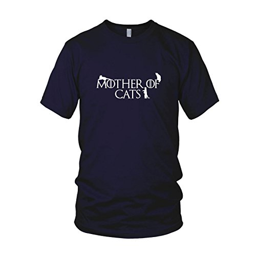 Mother of Cats - Herren T-Shirt, Größe: M, dunkelblau