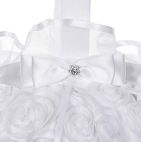 Mikash 5 inch Embroidered Petal Wedding Flower Girl Basket Satin Rose Bowknot Wedding Ceremony Decor Wedding Party Tion | | Model WDDNG - 1118