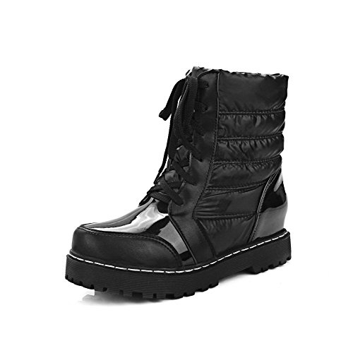 Women's Lace Low Boots up Closed Heels Black Kitten Blend AgooLar Top Materials Round Toe dABTSx