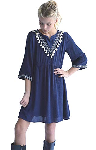 Smukke, Big Girls Tween Printed A-Line Dress with Tassel Detail (Many Options), 7-16 (Navy, 16) -
