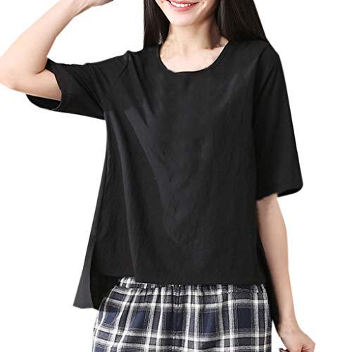 LISTHA Summer Loose Blouse Women Crewneck Short Sleeve Cotton Linen T-Shirt Tops Black