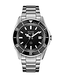 Bulova Marine Star Men's Quartz Watch with Black Dial Analogue Display and Silver Stainless Steel Bracelet - 98B203