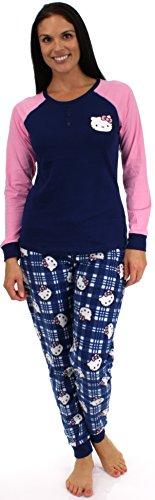 Hello Kitty Lovely Dreamer Blue Plaid Fleece Pajama Set - (Blue Plaid, Lrg)