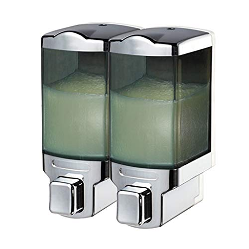 YSXZM Duo Soap Dispenser Wall Mounted Chrome Clear Conditioner Shower Lotion Dispenser Hotel Manual Shower Gel Double-Head Soap Dispenser
