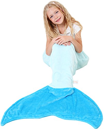 Mermaid Tail Blanket - Soft and Warm Polar Fleece Fabric Blanket by Cuddly Blankets for Kids and Teens (Ages 3-12) (Aqua and Ocean (Sleeping Beauty Costume Ideas)
