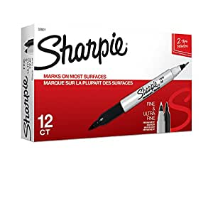 Sharpie Twin Tip Permanent Markers, Fine and Ultra Fine, Black, 12 Count