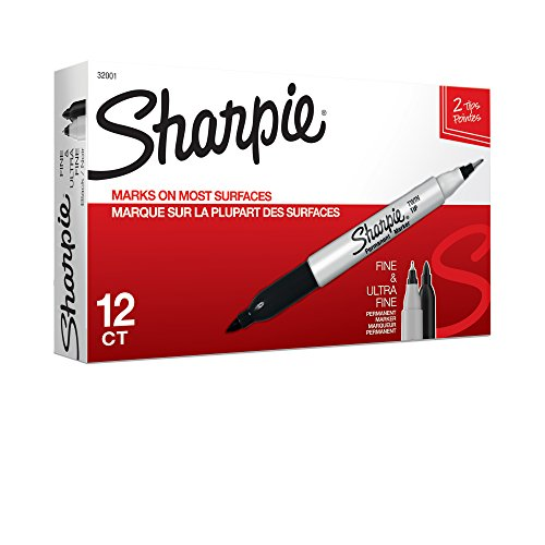 Permanent Fine Tip - Sharpie Twin Tip Permanent Markers, Fine and Ultra Fine, Black, 12 Count (32001)