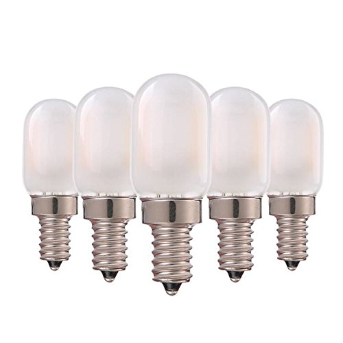 Vintage Tubular LED Light Bulb,Genixgreen 1W E12 T22 LED Filament Candelabra Bulbs Refrigerator Light Bulb with Frosted Glass Cover Warm White 2700K 8 Watt Equivalent Non Dimmable-5 Pack