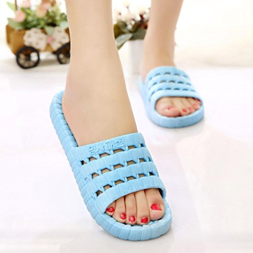 DEESEE(TM) New Arrivals Men Women Casual Sandals Outdoor Flats Non-Slip Massage Slippers Sky Blue iOvTv6