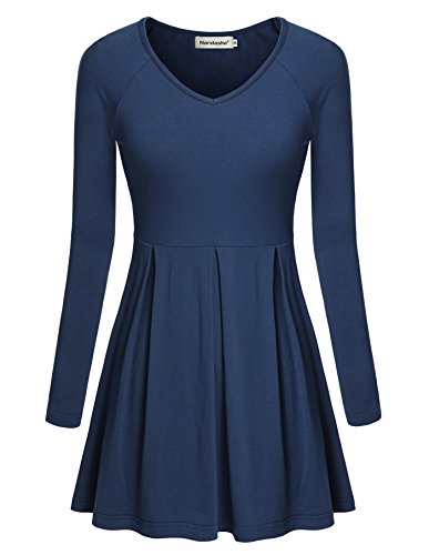 Womans Design, Nandashe Slim Fit Long Sleeve Knitted Pullover Peplum Top Blue M