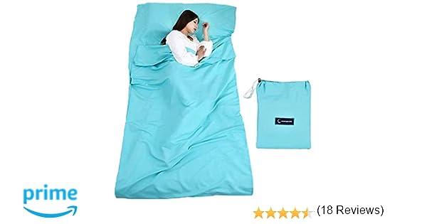 Saco de dormir con bolsa de transporte Ideal para albergues de interior refugios de montaña albergues juveniles que acampan actividades al aire libre, etc.