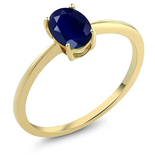 Gem Stone King 1.02 Ct Oval Blue Sapphire 10K Yellow Gold Solitaire Engagement Ring (Size 8)