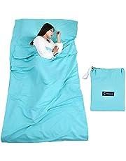 Queta Hüttenschlafsack Schlafsack Reiseschlafsack mit Tragetasche Ideal für Innen Hostels Berghütten Jugendherbergen Camping Outdooraktivitäte usw.