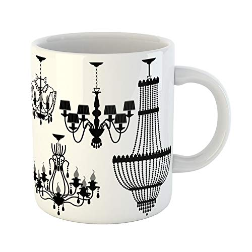 Rococo Candelabra - Emvency Coffee Tea Mug Gift 11 Ounces Funny Ceramic Modern Chandelier Black Silhouette Candelabra Home Gifts For Family Friends Coworkers Boss Mug