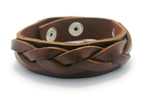 [APECTO Jewelry Quality Genuine Braided Leather Wrap Cuff Adjustable Bracelet Handmade (Brown), MB27] (Patrick Starfish Costumes)