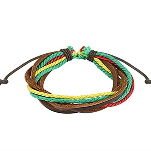 Brown with Triple Colored Rasta Leather Bracelet with Drawstrings, Adjustable Size by Sliding Tie-Knot Closure and One Size Fits Most (Extends upto 10