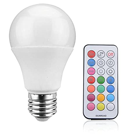 RGB + W Bombilla LED inteligente, 7W - Base de rosca E27 incluye simple mando a distancia - elegir su color o luz blanca recta: Amazon.es: Iluminación
