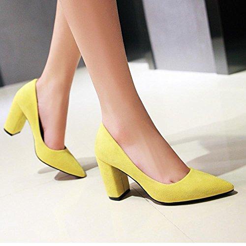 COOLCEPT Mujer Moda sin Cordones Puntiagudo Tacon Ancho Alto Bombas Zapatos Boca Baja Zapatos (37 EU , Suede Yellow)