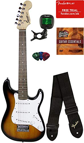Squier by Fender Mini Strat Electric Guitar - Brown Sunburst Bundle with Tuner, Strap, Picks, Fender Play Online Lessons, Austin Bazaar Instructional DVD, and Polishing Cloth (Brown Electric Guitar)