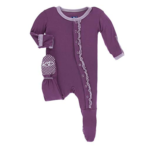 Kickee Pants Little Girls Solid Muffin Ruffle Footie with Snaps - Amethyst with Sweet Pea, Newborn