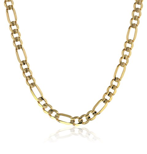 Men's 10k Yellow Gold 6.7mm Italian Figaro Chain Necklace, 26'' by Amazon Collection