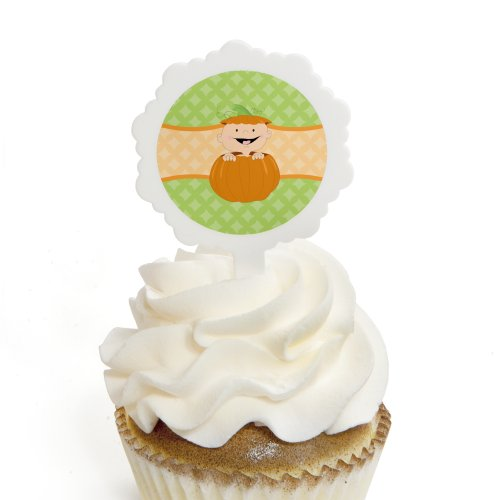 Little Pumpkin Caucasian - Cupcake Picks with Stickers - Fall Baby Shower or Birthday Party Cupcake Toppers - 12 (Fall Themed Baby Shower)
