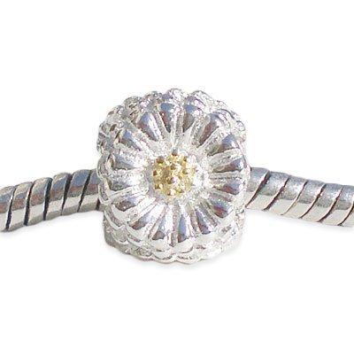 Andante-stones perle ronde en argent 925/1000 doré fleurs pour bracelets à perles européennes livrée dans une pochette en organza