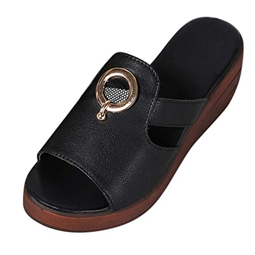 YKARITIANNA Women's Summer Solid Color Wedge Non-Slip Peep Toe Slippers Lady Sandals 2019 Summer Black
