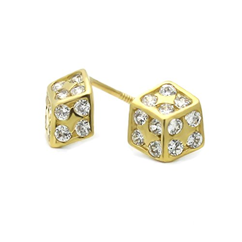 - 14K Yellow Gold Lucky Dice Screwback Stud Earrings
