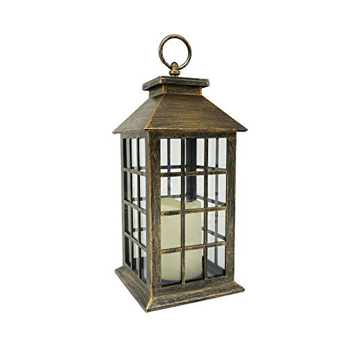 r LED Candle Lantern Flickering Flameless Candle Holders,13.5'' Bronze Outdoor Lanterns Decorative,Rustic Hanging Lantern Battery Powered Tabletop Lanterns ()