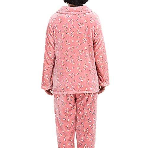Pantalones Franela Jogging Mujer Cálidos Superior Y Suaves Manga Pijama Pink Conjunto Larga Ropa Pijamas Para De wSAOnxFqT
