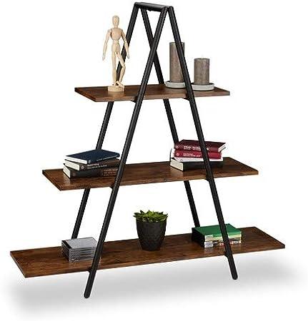 Relaxdays Estantería con Forma de Escalera, Tres estantes, MDF, Acero, Marrón, 121,5 x 120 x 36 cm: Amazon.es: Hogar