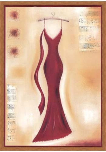 (Poster Palooza Framed Red Evening Gown II- 18.5x26.5 Inches - Art Print (Honey Pecan Frame))