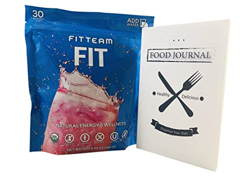 FitTeam Fit Weight Loss Fit Sticks Energy Drink - Organic, Gluten Free, Dairy Free, Vegan, Non GMO - 30 Sticks of Powder - Includes a 30 Day Physical Food Journal to Help Organize Your Diet (Stick Loss Fit Weight)