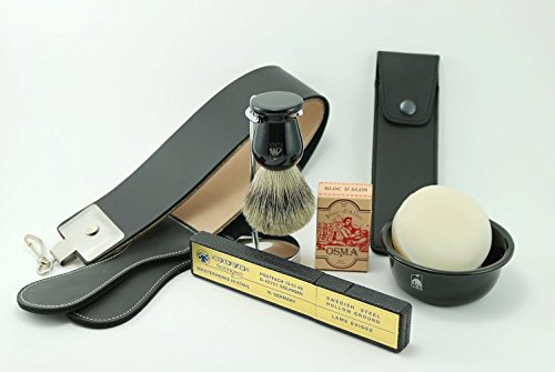 Dovo Black Straight Shaving Razor with Deluxe Accessory Set - Leather Strop, Chrome Brush Stand, Ceramic Bowl, Pure Badger Brush, Alum Block, Leather Razor Case and GBS Soap! by GBS