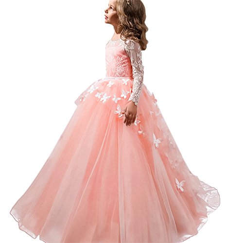 IBTOM CASTLE Little Big Girls Flower Lace Princess Long Pageant Communion Dresses Prom Tulle Ball Gown Wedding Bridesmaid Floor Length #F Blush Pink Long Sleeve Butterfly 6-7 (Butterfly Long Dress)