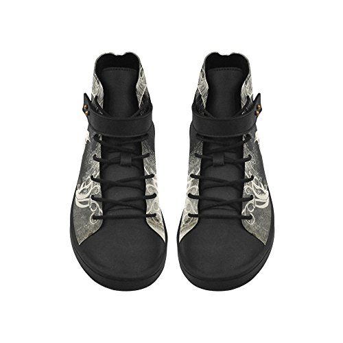 D-Story Round Toe High Top Shoes The Crow With Flowers Wo...