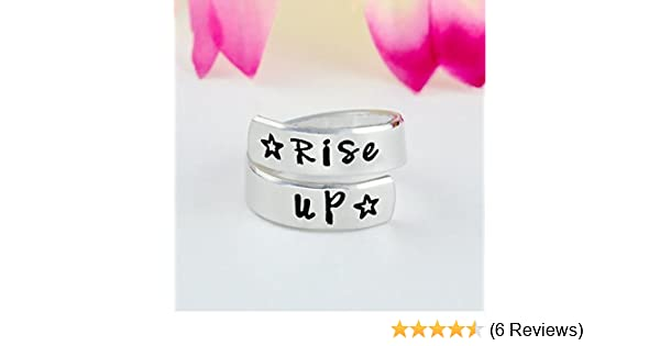 Inspiration Motivation Jewelry Hand Stamped Aluminum Spiral Wrap Twist Ring Alexander Hamilton Musical Inspired Star Gift Rise Up