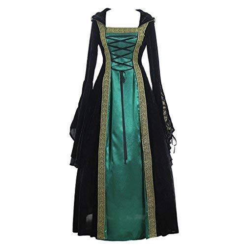 CosplayDiy Women's Medieval Renaissance Retro Gown Cosplay Costume Dress XS Green ()