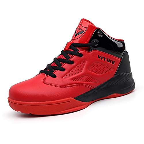 Vitike Boy's Basketball Shoes Professional Kids Childrens Athletic Sneakers(Little/Big Kids) (Big Kids 5.5 M, Red)