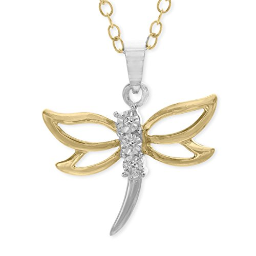 Dragonfly Pendant Necklace with Diamonds in 14K Gold-Plated Sterling Silver