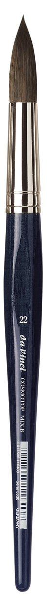 da Vinci Watercolor Series 5530 CosmoTop Mix B Paint Brush, Round Synthetic/Natural Mix, Size 22 (5530-22)