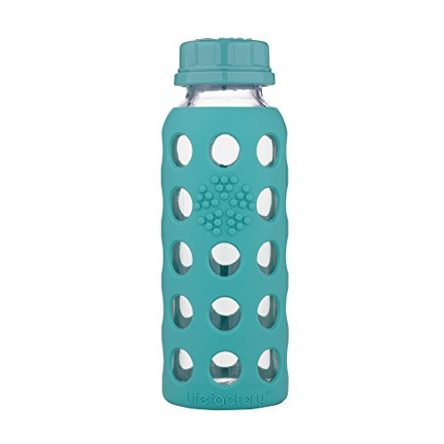 Lifefactory 9-Ounce BPA-Free Glass Baby Bottle with Flat Cap and Protective Silicone Sleeve, Kale