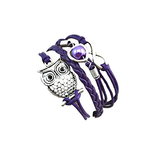 JSPOYOU Clearance! Bracelets Women Infinity Owl Pearl Friendship Multilayer Charm Leather Bracelets Gift (Purple) by JSPOYOU (Image #3)