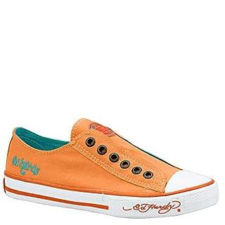 Ed Hardy LR NEON Womens Canvas Top Sneaker Shoes (5 US Womens, Neon Orange)