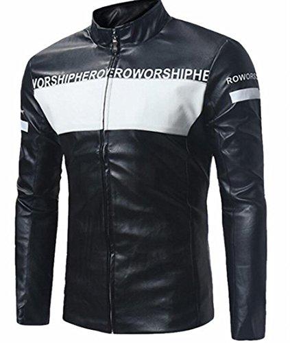 Slim Stand Short Black Coat Men's Leather PU Collar UK Motor today Jackets w4XqzFYn